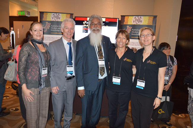 L-R Leigh Westcott Department of Health, Professor Neil Drew HealthInfoNet Director, Associate Professor Ted Wilkes NIDAC Chair, Michelle Catto Knowledge Centre Project Manager and Avinna Trzesinski Research Officer at the KC launch